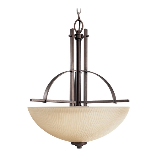 Progress Lighting Progress Pendant Light with Beige / Cream Glass in Heirloom Finish P3519-88
