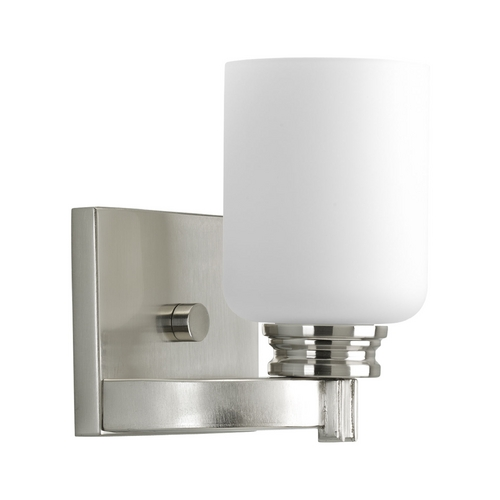 Progress Lighting Progress Sconce Wall Light with White Glass in Brushed Nickel Finish P3030-09