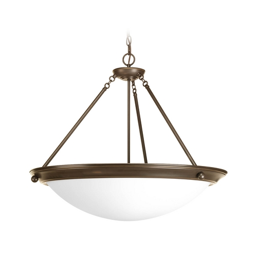 Progress Lighting Pendant Light with White Glass in Antique Bronze Finish P7323-20WB