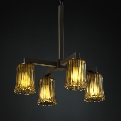 Justice Design Group Justice Design Group Veneto Luce Collection Chandelier GLA-8920-16-AMBR-DBRZ