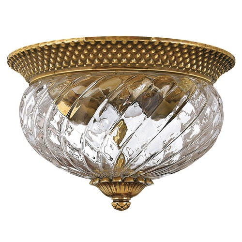 Hinkley Lighting Flushmount Light with Clear Glass in Burnished Brass Finish 4102BB