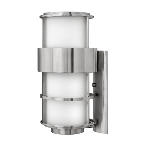 Hinkley Lighting Outdoor Wall Light with White Glass in Stainless Steel Finish 1905SS-GU24