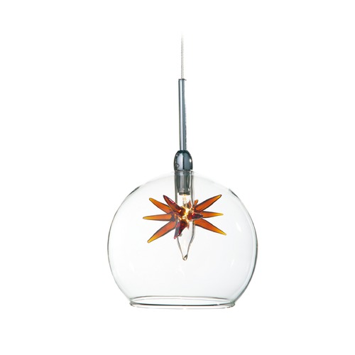 ET2 Lighting Starburst Satin Nickel Mini-Pendant Light with Globe Shade E94372-25SN
