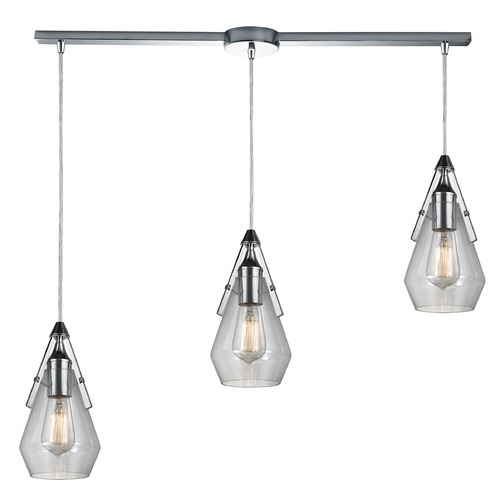 Elk Lighting Elk Lighting Duncan Polished Chrome Multi-Light Pendant with Bowl / Dome Shade 46171/3L