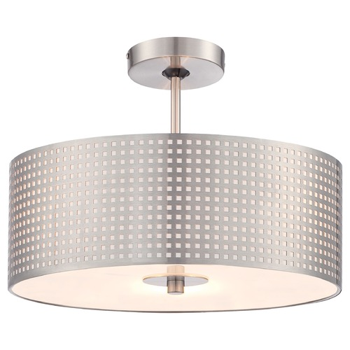George Kovacs Lighting George Kovacs Grid Brushed Nickel Semi-Flushmount Light P5747-084