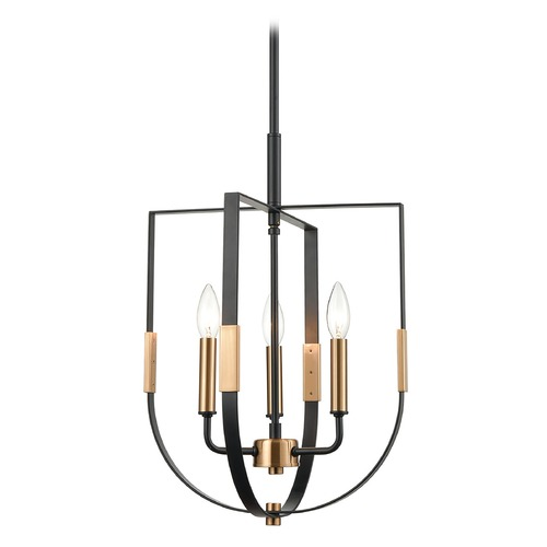 Elk Lighting Elk Lighting Heathrow Matte Black, Satin Brass Pendant Light 15456/3