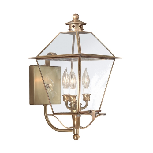 Troy Lighting Outdoor Wall Light with Clear Glass in Natural Aged Brass Finish B8954NAB