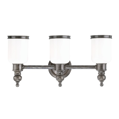 Hudson Valley Lighting Bathroom Light with White Glass in Antique Nickel Finish 6303-AN