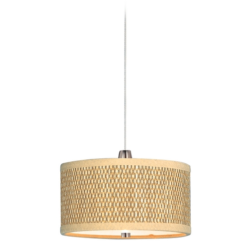 ET2 Lighting Modern Low Voltage Mini-Pendant with Brown Tones Shade in Satin Nickel E95490-101SN