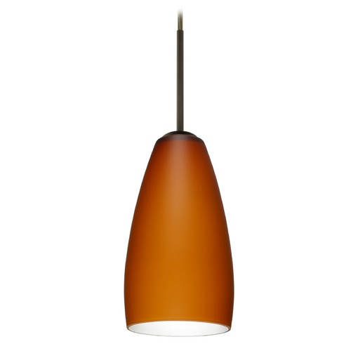 Besa Lighting Besa Lighting Chrissy Bronze Mini-Pendant Light with Conical Shade 1BT-150980-BR