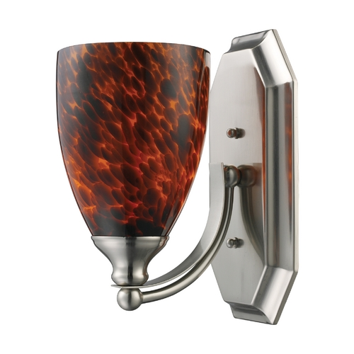 Elk Lighting Sconce with Art Glass in Satin Nickel Finish 570-1N-ES