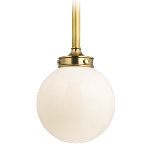 Hudson Valley Lighting Modern Pendant Light with White Glass in Aged Brass Finish 8814-AGB