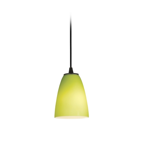 Access Lighting Modern Mini-Pendant Light with Green Glass 28022-2C-ORB/LGR
