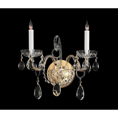 Crystorama Lighting Crystal Sconce Wall Light in Polished Brass Finish 1122-PB-CL-MWP