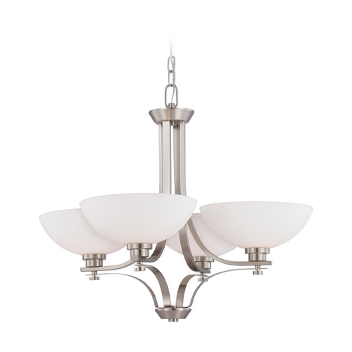 Nuvo Lighting Chandelier with White Glass in Brushed Nickel Finish 60/5014