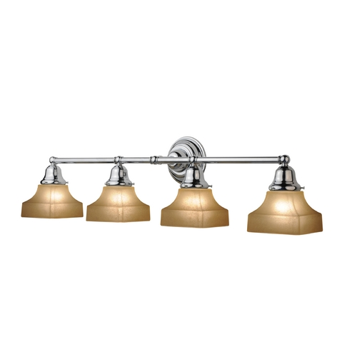 Design Classics Lighting Four-Light Bathroom Vanity Light with Square Shades 674-26/G9415C KIT