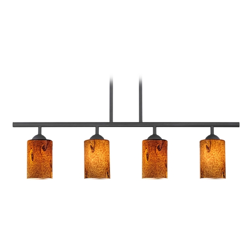 Design Classics Lighting Modern Island Light with Brown Glass in Matte Black Finish 718-07 GL1001C