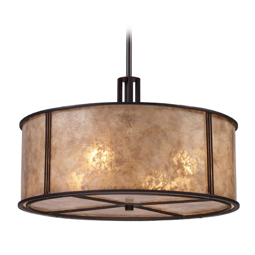 Elk Lighting Barringer Aged Bronze Pendant Light with Drum Shade - Includes Recessed Adapter Kit 15032/4-LA