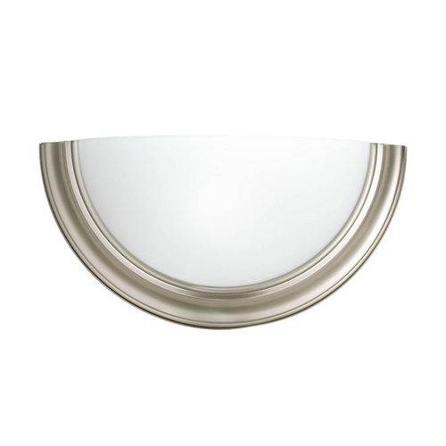 Progress Lighting Sconce Wall Light with White Glass in Brushed Nickel Finish P7171-09WB