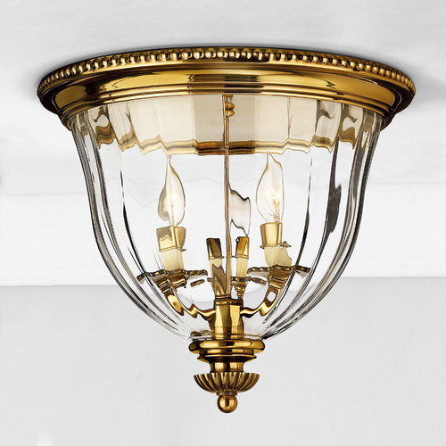 Hinkley Flushmount Light with Clear Glass in Burnished Brass Finish 3612BB