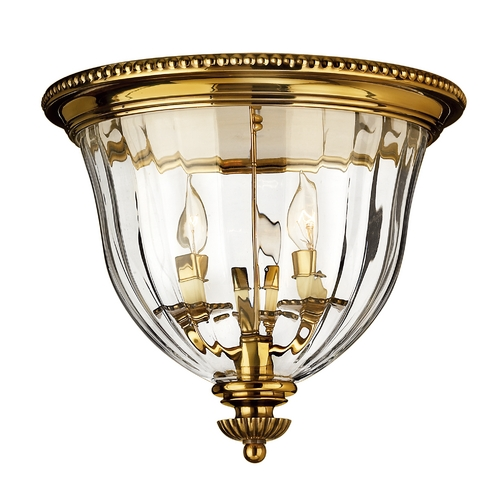 Hinkley Lighting Flushmount Light with Clear Glass in Burnished Brass Finish 3612BB