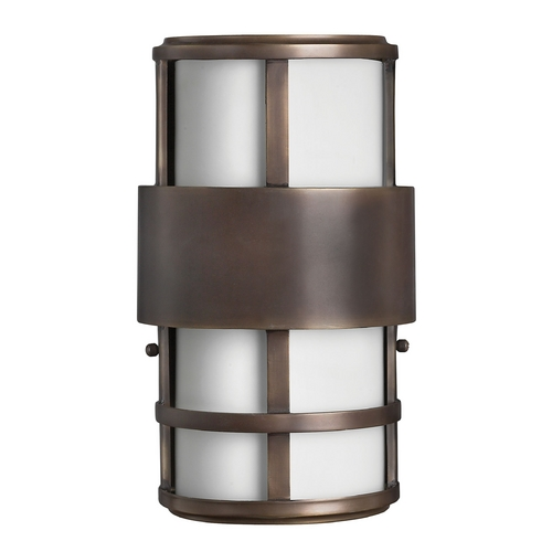 Hinkley Lighting Outdoor Wall Light with White Glass in Metro Bronze Finish 1908MT-GU24