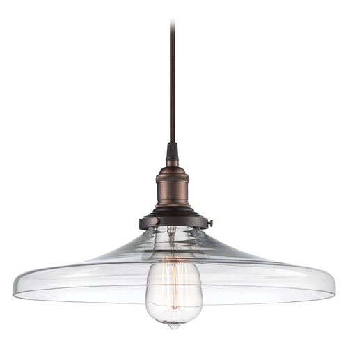 Nuvo Lighting Pendant Light with Clear Glass in Rustic Bronze Finish 60/5507