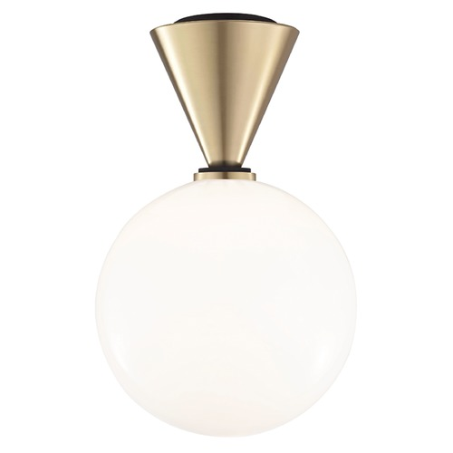 Mitzi by Hudson Valley Mid-Century Modern LED Flushmount Light Brass / Black Mitzi Piper by Hudson Valley H148501L-AGB/BK