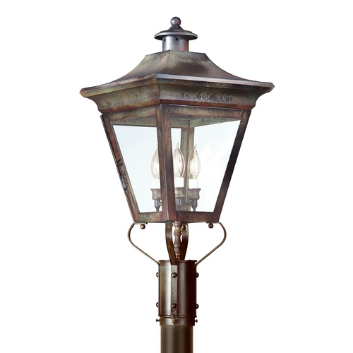 Troy Lighting Post Light with Clear Glass in Natural Rust Finish P8934NR
