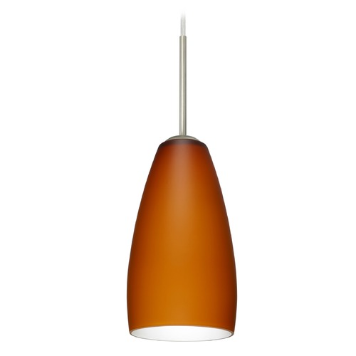 Besa Lighting Besa Lighting Chrissy Satin Nickel Mini-Pendant Light with Conical Shade 1BT-150980-SN