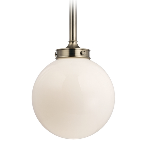 Hudson Valley Lighting Modern Pendant Light with White Glass in Historic Nickel Finish 8814-HN