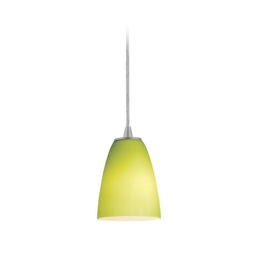 Access Lighting Modern Mini-Pendant Light with Green Glass 28022-2C-BS/LGR