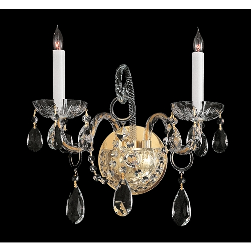 Crystorama Lighting Crystal Sconce Wall Light in Polished Brass Finish 1122-PB-CL-S