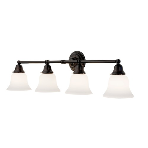 Design Classics Lighting Four-Light Bathroom Vanity Light with Bell Shades 674-30/G9110 KIT