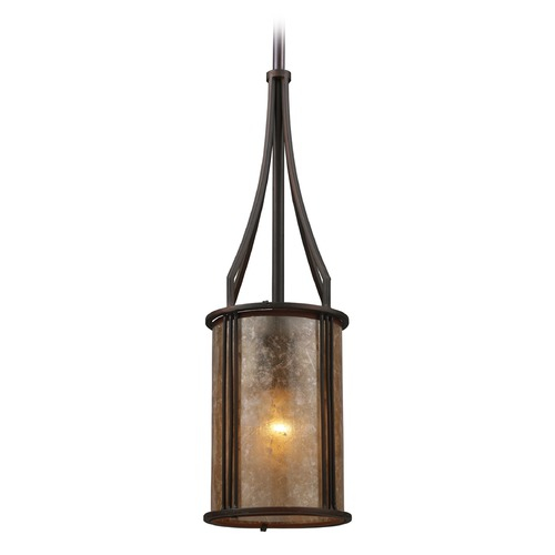 Elk Lighting Elk Lighting Barringer Aged Bronze Mini-Pendant Light with Cylindrical Shade 15033/1-LA