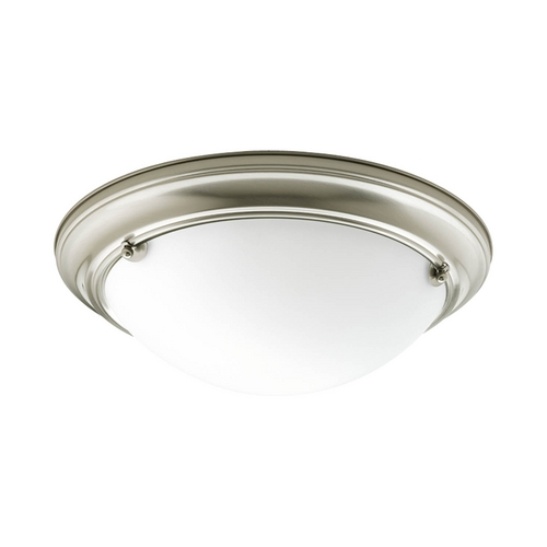 Progress Lighting Progress Flushmount Light with White Glass in Brushed Nickel Finish P7324-09WB