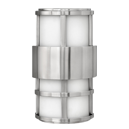 Hinkley Lighting Outdoor Wall Light with White Glass in Stainless Steel Finish 1908SS-GU24