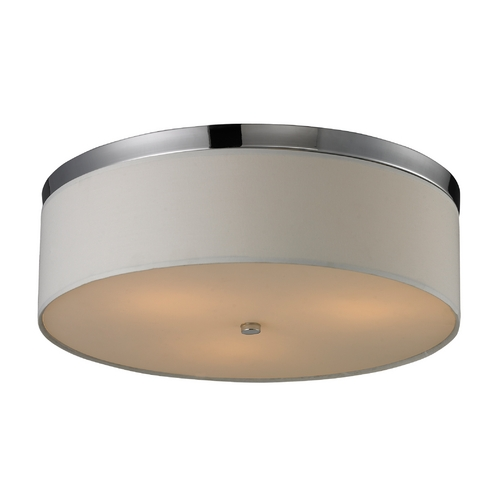 Elk Lighting Modern Flushmount Light with White Shade in Polished Chrome Finish 11445/3