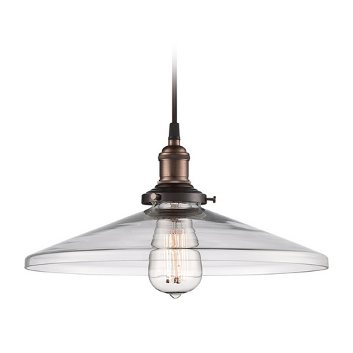 Nuvo Lighting Pendant Light with Clear Glass in Rustic Bronze Finish 60/5508