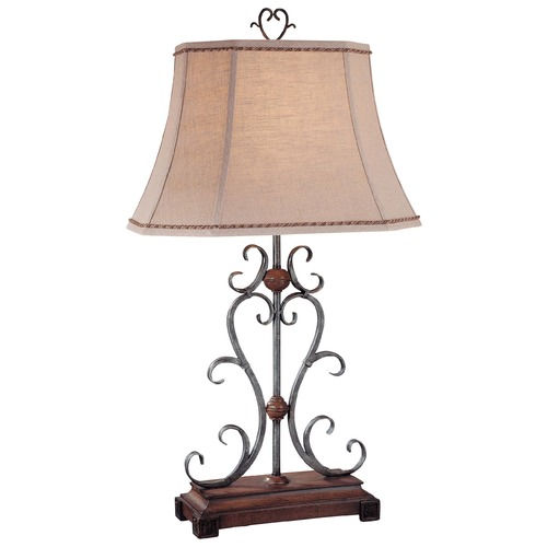 Minka Lighting Minka Wood Table Lamp with Bell Shade 10361-0
