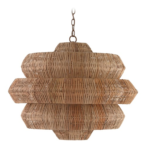 Currey and Company Lighting Currey and Company Antibes Khaki / Natural Pendant Light 9859