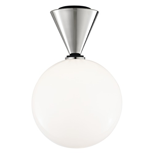 Mitzi by Hudson Valley Mid-Century Modern LED Flushmount Light Polished Nickel / Black Mitzi Piper by Hudson Valley H148501L-PN/BK