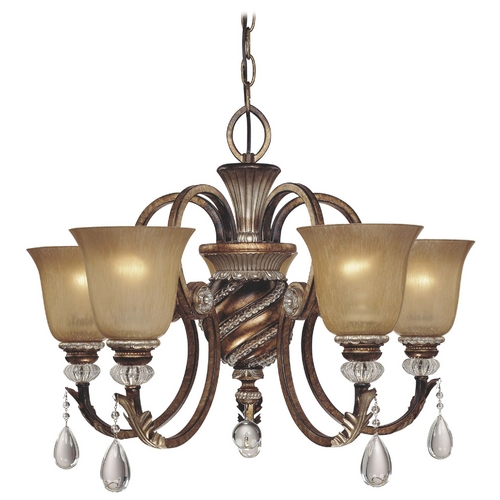 Minka Lavery Chandelier with Beige / Cream Glass in Aston Court Bronze Finish 174-206