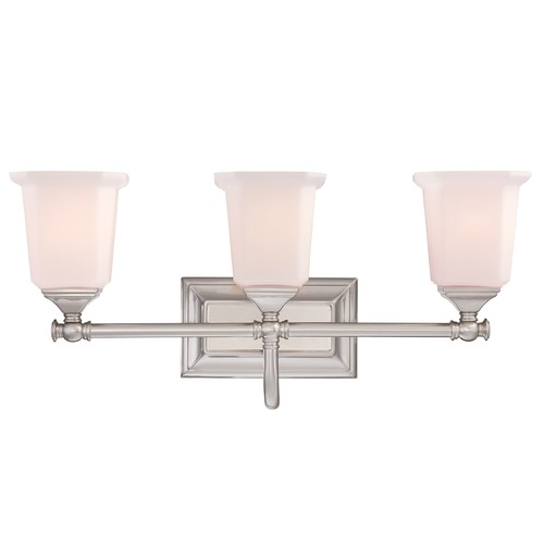 Quoizel Lighting Bathroom Light with White Glass in Brushed Nickel Finish NL8603BN