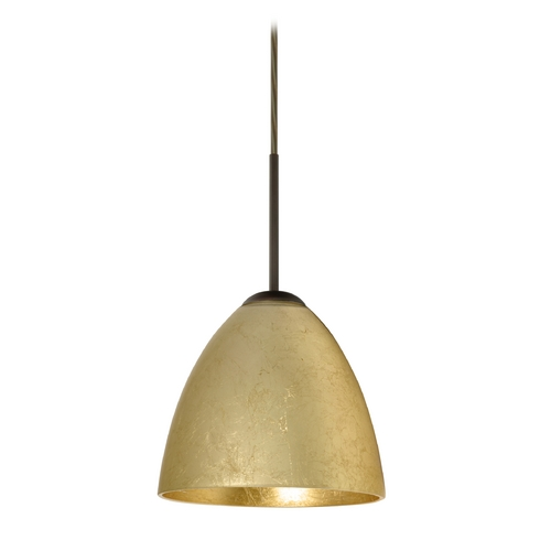 Besa Lighting Modern Pendant Light with Gold Glass in Bronze Finish 1JT-4470GF-BR