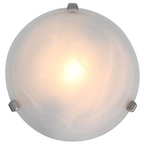 Access Lighting Modern Flushmount Light with Alabaster Glass in Satin Nickel Finish 50046-SAT/ALB
