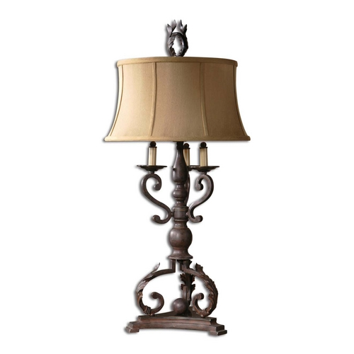 Uttermost Lighting Table Lamp with Beige / Cream Shade in Mahogany Bronze Finish 26916