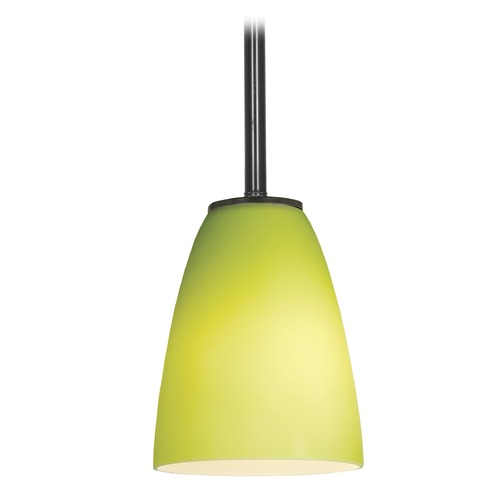 Access Lighting Modern Mini-Pendant Light with Green Glass 28022-1R-ORB/LGR