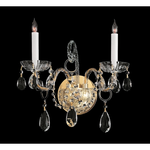 Crystorama Lighting Crystal Sconce Wall Light in Polished Brass Finish 1122-PB-CL-SAQ