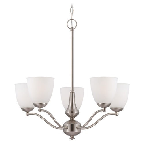 Nuvo Lighting Chandelier with White Glass in Brushed Nickel Finish 60/5035